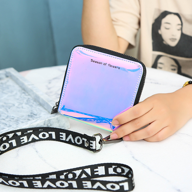 New Lanyard Laser Holographic Wallet Women Wallets Lady Short Purse Portfel Card Holder Women's Small Wallet Coin Purse Carteras