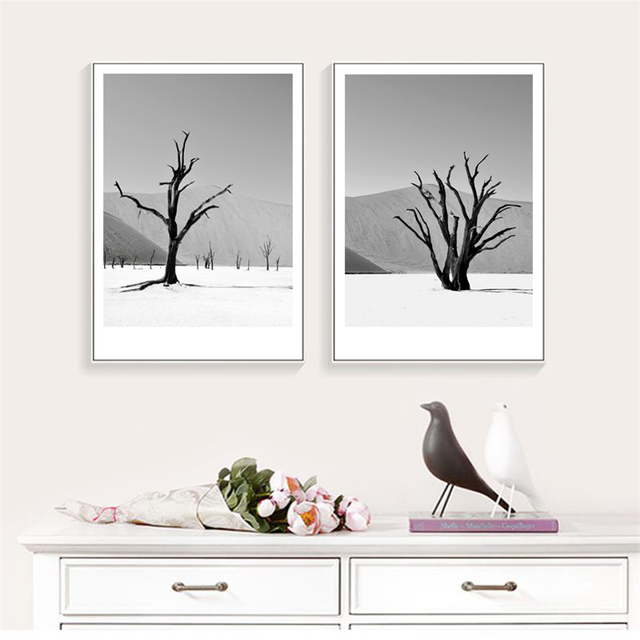 Simple Trees Grey Landscape Art Posters and Prints 1