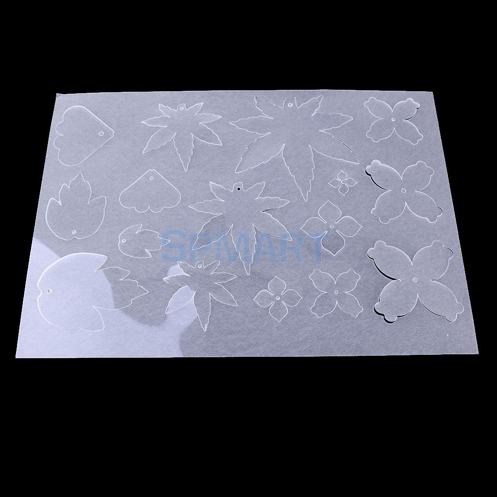 DIY Hot Shrink Plastic Sheets Drawing Paper Maple Leaves & Flower Handicraft DIY Creative Toy Craft Set White Transparent Color ...