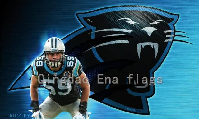 3x5ft 100D Polyester Material Carolina Panthers Luke Kuechly Wallpapers Flag