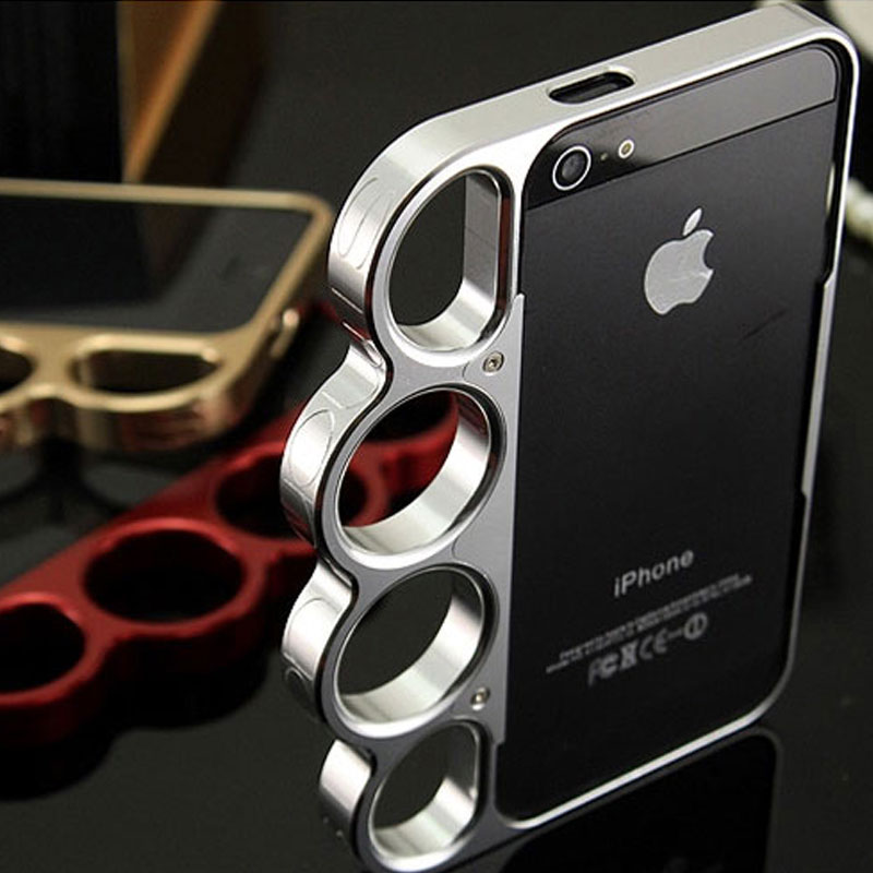 100% aleación de aluminio Boxeo para iPhone 5 5s Bumper Fashion Lord Rings Knuckles Finger Phone Frame Funda para iPhone 5G SE