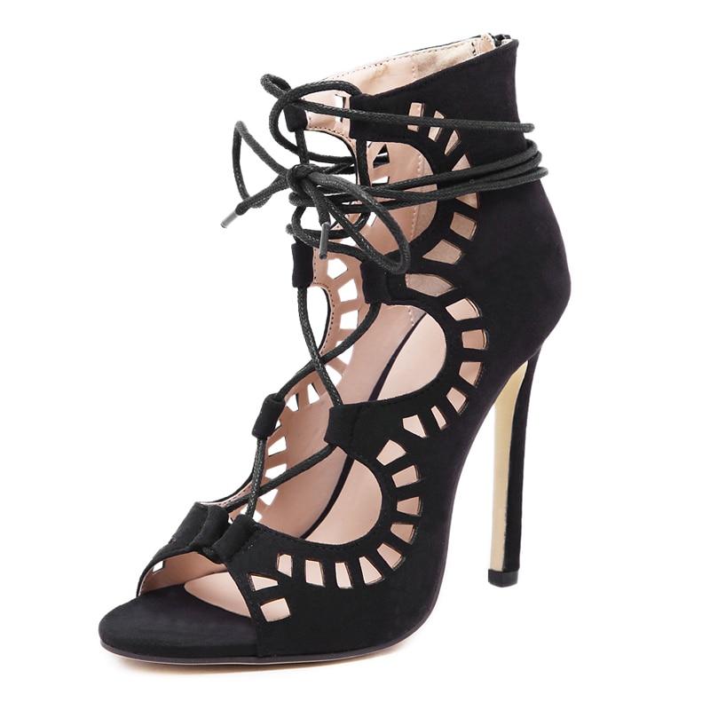 Toe Mujeres Up Sexy Sandalias Sapatos 2017 beige Gladiador Punta Estrecha Boda Bombas Encaje Zapatos Peep Tacones Altos Black Toe Recortes H8xwxg4