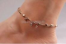 Fashion Jingle Bells Pendant 14KRose Gold Plated Women Anklet, Ladies Foot Chian Ankle Bracelet Jewelry Accessories,S070B