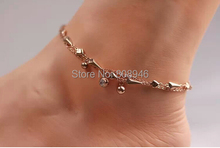 Fashion Jingle Bells Pendant 14KRose Gold Plated Women Anklet, Ladies Foot Chian Ankle Bracelet Jewelry Accessories,S070B