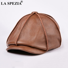 LA SPEZIA Mens Newsboy Caps Real Cow Leather Women Casual Brown Cap Ivy Duckbill Hats Spring Luxury Brand Artistic Flat