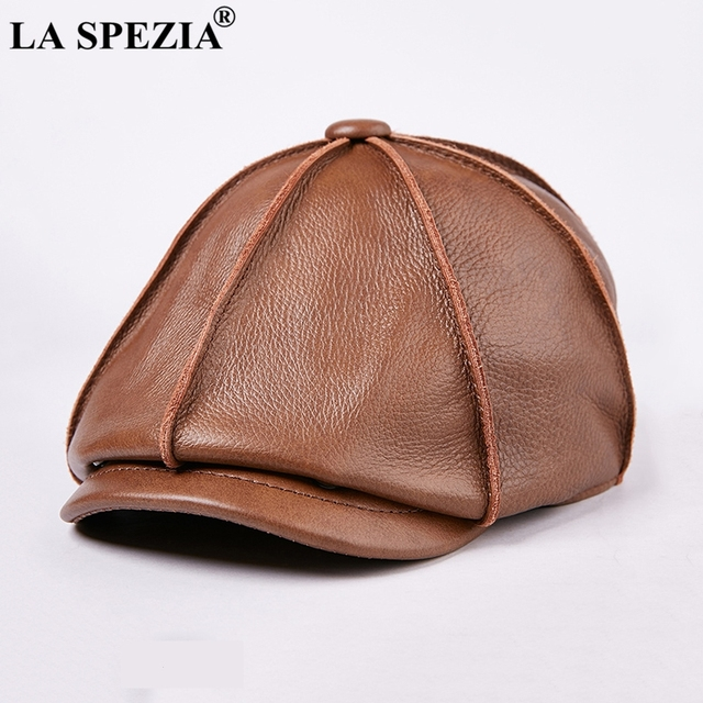 LA SPEZIA Mens Newsboy Caps Real Cow Leather Women Casual Brown Cap Ivy Duckbill Hats Spring Luxury Brand Artistic Flat Hats