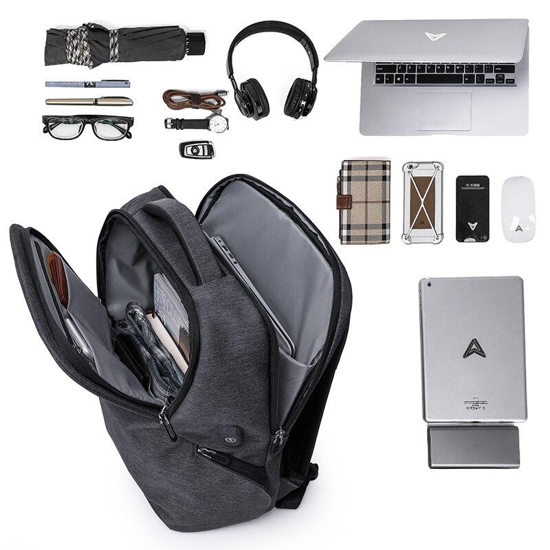 KAKA803 Multifunction Polyester Waterproof Men Laptop Bag Backpack 15.6 inch Fashion School Black Male USB Charging Backpacks