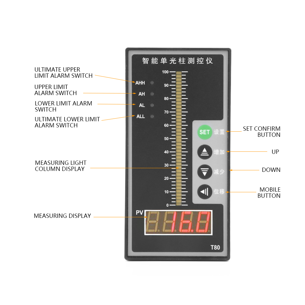 Affichage de niveau de liquide colonne de contrôle de pression intelligente transmetteur de niveau 4-20MA affichage de niveau d'eau outils de mesure - 6
