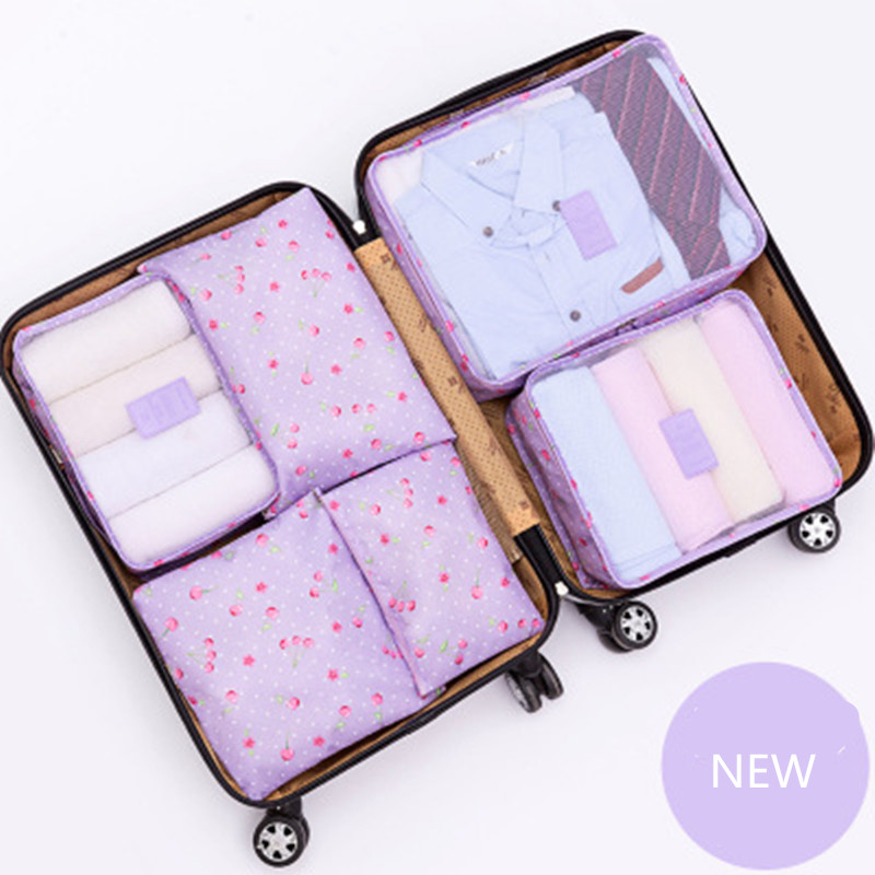 New Arrival 6PCs/Set Travel Storage Bag Clothes Tidy Pouch Luggage Organizer Portable Container Waterproof Storage Case 2018