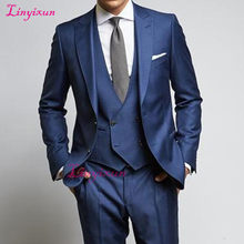 Linyixun High Quality 2018 Elegant Brand Suits Slim Fit Groom Burgundy Tuxedo Jacket Mens Prom Suits For Wedding Groomsmen(China)