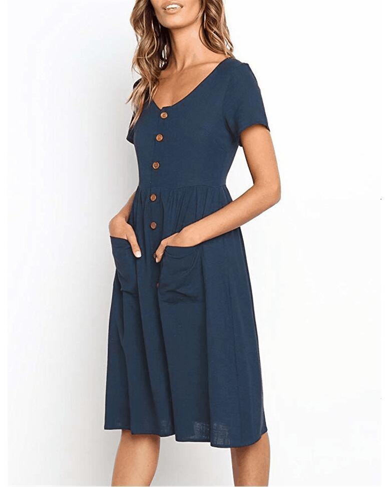 Red Blue A Line Casual Dresses Women Autumn Dress 19 Vintage Long Sleeve Dress For Ladies Buttons V Neck Midi Vestidos Female 52