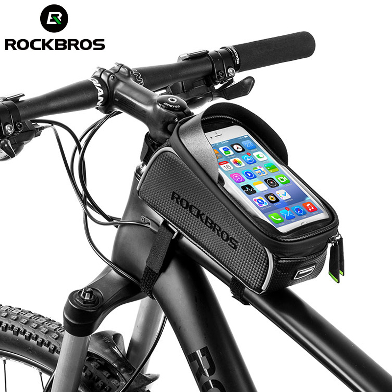 ROCKBROS MTB Road Bike Bicicleta Sacos Sacos de Tela de Toque À Prova D' Água Ciclismo Frente Quadro Do Tubo Superior 6.0 Caixa Do Telefone Da Bicicleta Acessórios