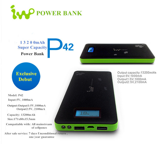 IWO P42 Полимер Портативный Банк силы Powerbank Внешняя Батарея Зарядное Устройство Для iPhone 6 6 s Plus Для Xiaomi 13200 mAh Банки Питания