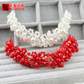 Original Korean wedding headdress handmade pearl beads bendable tiara bridal hair accessories hand-beaded hair jewelry red