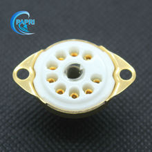 10PCS ceramic Golden B9A new 9-pin Home Amplifier Vacuum tube sockets base for 12AT7  6DJ8 12BH7 12BY7 5751 12AX7  6189 EF86 Etc