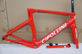 Cuadro rojo con logotipo blanco Cipollini NK1K T1100 Marco de bicicleta de carretera de carbono con horquilla + tija + abrazadera + auricular bicicleta de carbono frameset