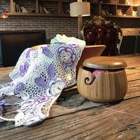 wooden bowl /Wool yarn bowl/for knitting crochet Lace line 0.6kg