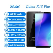 Cubot X18 Plus Android 8.0 5.99 Inch 18:9 FHD+ Smartphones RAM 4GB ROM 64GB MT6750T Octa Core 16MP 13MP Dual SIM 4G Mobile Phone