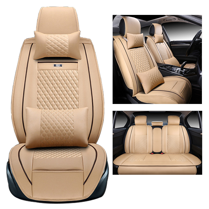 New Luxury PU Leather Auto Universal Car Seat Covers Automotive Seat Covers for toyota lada kalina granta priora renault logan stylish round neck short sleeves fringed pure color cover up for women