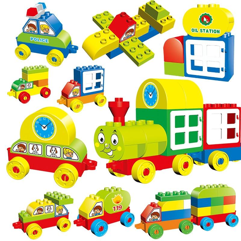 Big Blocks Building Set Compatible with Duploe DIY ABC/123 Learning Train  Toy Building Bricks Digital Alphabet Train Toy For Kid