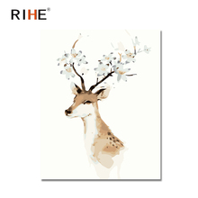 RIHE Sika Deer Diy Painting By Numbers Animal Oil On Canvas Hand Painted Cuadros Decoracion Acrylic Paint 40X50CM Gift