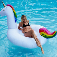 200cm Giant Inflatable Unicorn Pool Float Ride On Pegasus Swimming Ring For Adult Children Water Party Toys Air Mattress