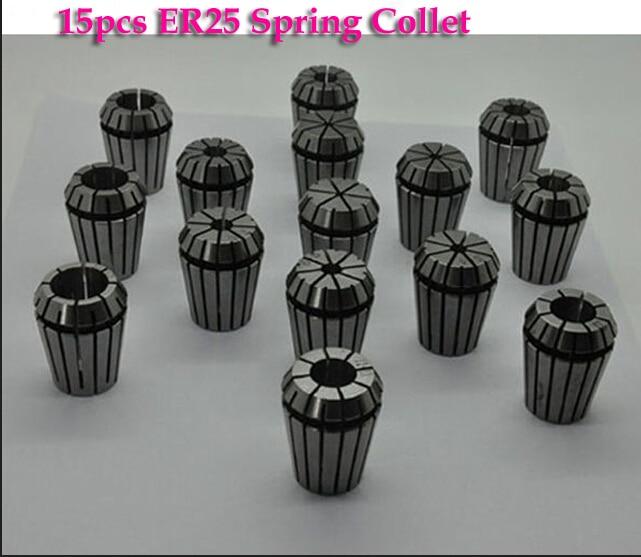 15pcs/set ER25 (2-16mm) Beating 0.1mm Precision Spring Collet for CNC Milling Lathe Tool and spindle motor  цены