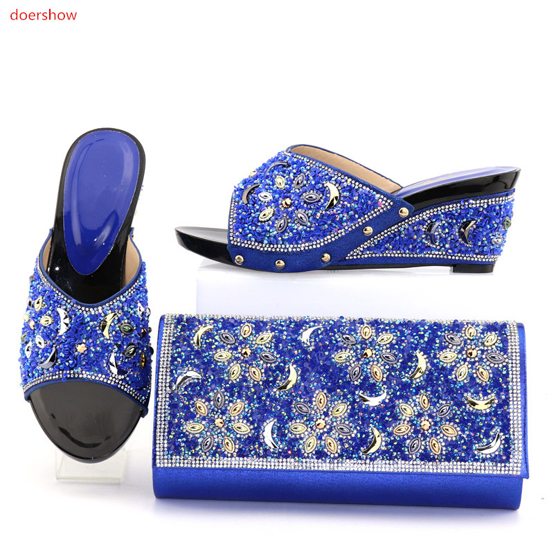 doershow New Italian Shoes With Matching Bags Set African Rhinestone Middle Heels Shoes And Matching Bag Set For party SMO1-18 african fashion shoes with matching bag set for wedding party italian design nigeria women pumps shoes and bags mm1060