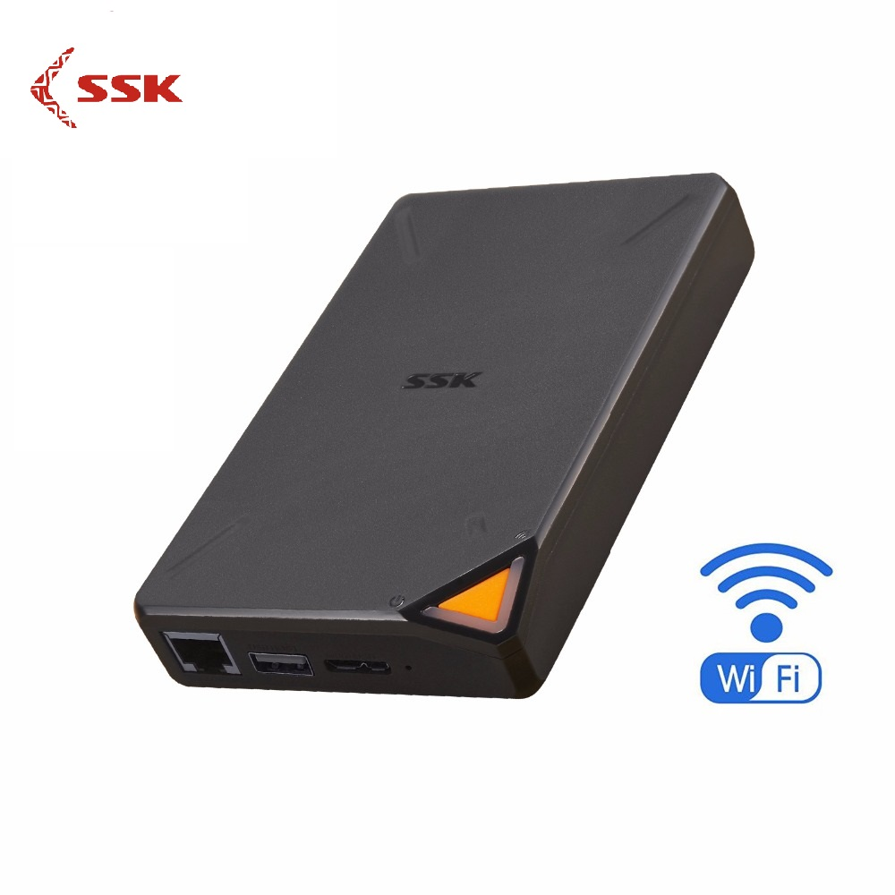SSK F200 Hisk Inteligente Disco Rígido Portátil Disco Rígido Externo Sem Fio Rígido 1TB de Armazenamento Em Nuvem 2.4GHz WiFi Remoto acesso HDD Caso
