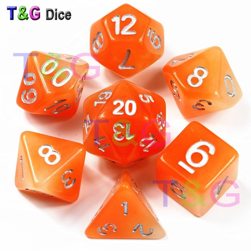 Mixing Glowing Orange Color 7 Pc/set  D4 D6 D8 D10 D10% D12 D20 Polyhedral Dice With Number