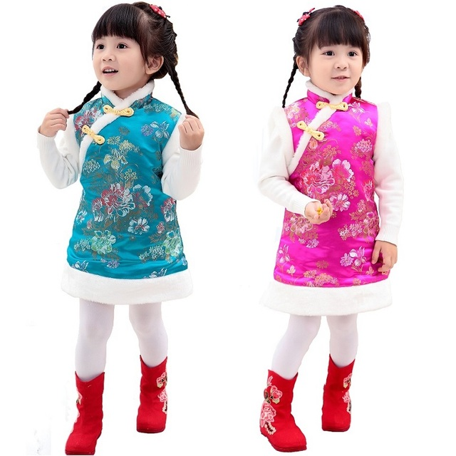 Baby Girls Dress Quilted Warmer Vest Waistcoat Girl Down Jacket Chi-pao Dresses  Children Cheongsam Qipao Outerwear Sleeveless af3b39acdb04