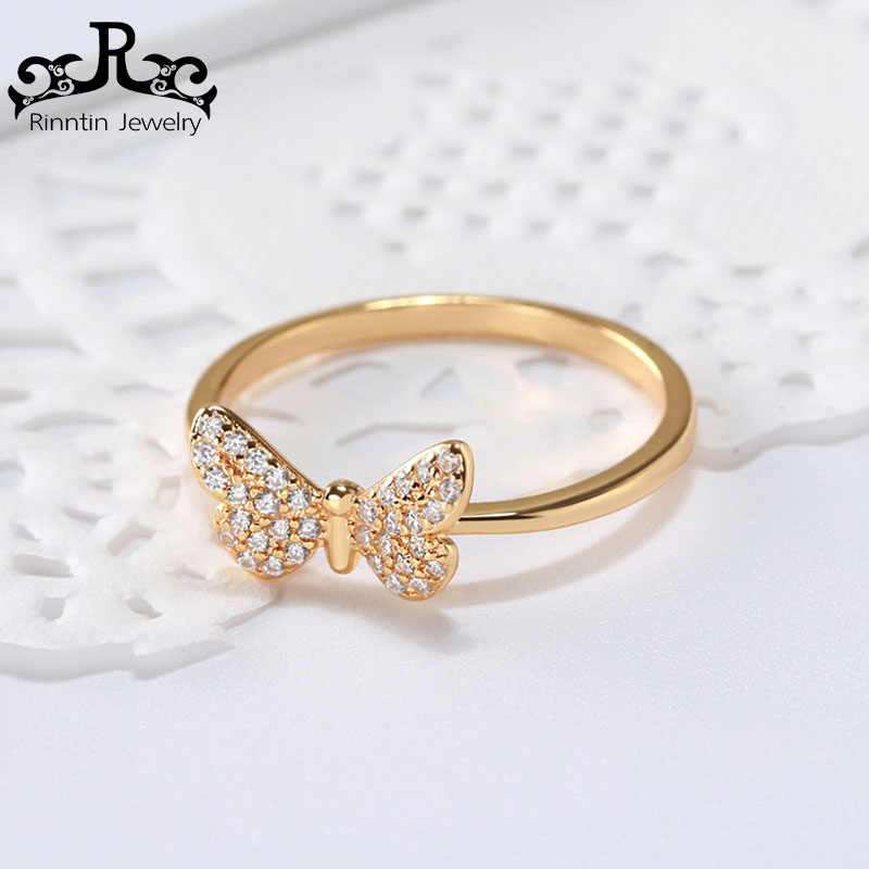 Rinntin 925 Sterling Silber Ringe Für Frauen Klassische Schmetterling Form Prong Einstellung AAA Zirkon Geschenk Mode Edlen Schmuck TSR59-G