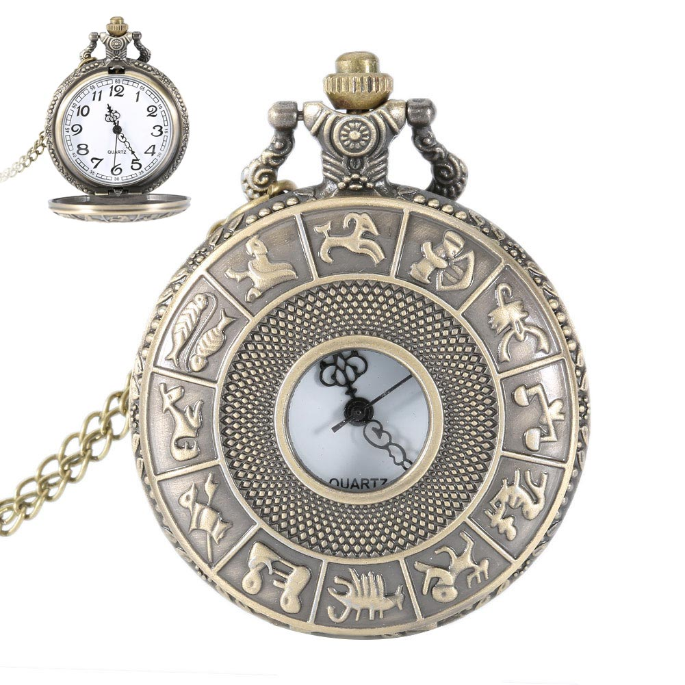 Vintage Steampunk Constellation Zodiac Pocket Watch Dial 4.7cm Pendant Necklace Chain Clock LXH робот zodiac ov3400