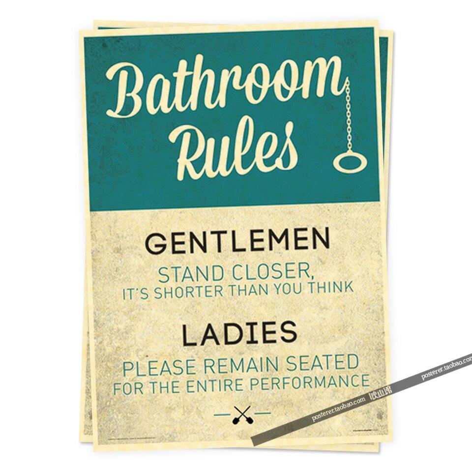 Badkamer Regels Grappige Teken Humor Posters Retro Poster