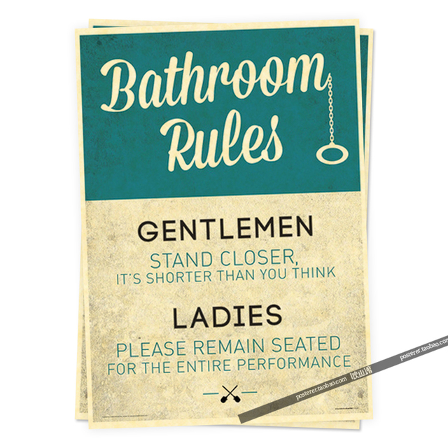 Bathroom Rules Funny Sign Humor Posters Retro Poster Vintage Home Decor Adornment Character