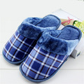 Plus size slippers men cotton slippers home indoor thick slippers winter plush velvet warm cotton shoes