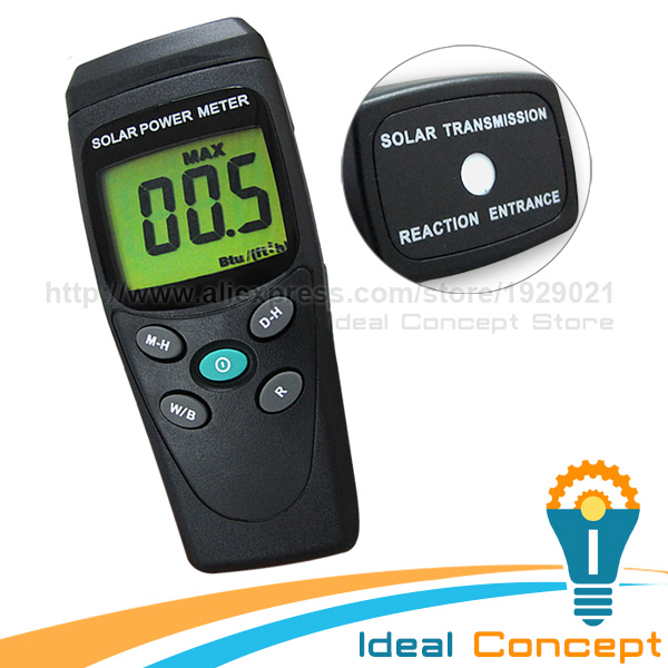 Solar Power Meter Radiation Energy Cell 1999 W/m2 634 BTU/(ft2*h) Range Taiwan Made Tester sm206 solar power meter for solar research