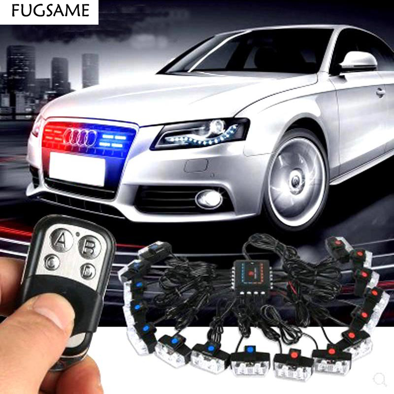 FUGSAME Wireless Amber white red blue 2X16 32W LED Car Strobe Warning police Beacon Emergency Flashing Grill light car stying цены онлайн