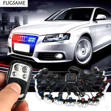 цена на FUGSAME Wireless Amber white red blue 2X16 32W LED Car Strobe Warning police Beacon Emergency Flashing Grill light car stying