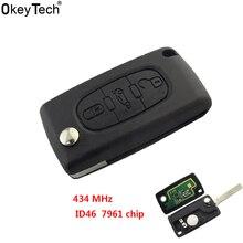 OkeyTech CE0536 433 MHz 3 Tasti del Telecomando Chiave Con Il Circuito Integrato ID46 sostituire Car Keyless Entry Caso Per Peugeot 207 307 308 407