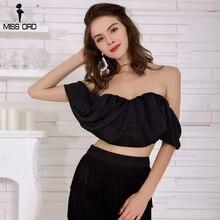 Missord 2018 Sexy Off Shoulder Summer Female Black Color  Short Top FT8360