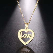 DOTIFI  Stainless Steel Necklace For Women Man Love Noble Heart Gold And Silver Color Pendant Necklace Engagement Jewelry