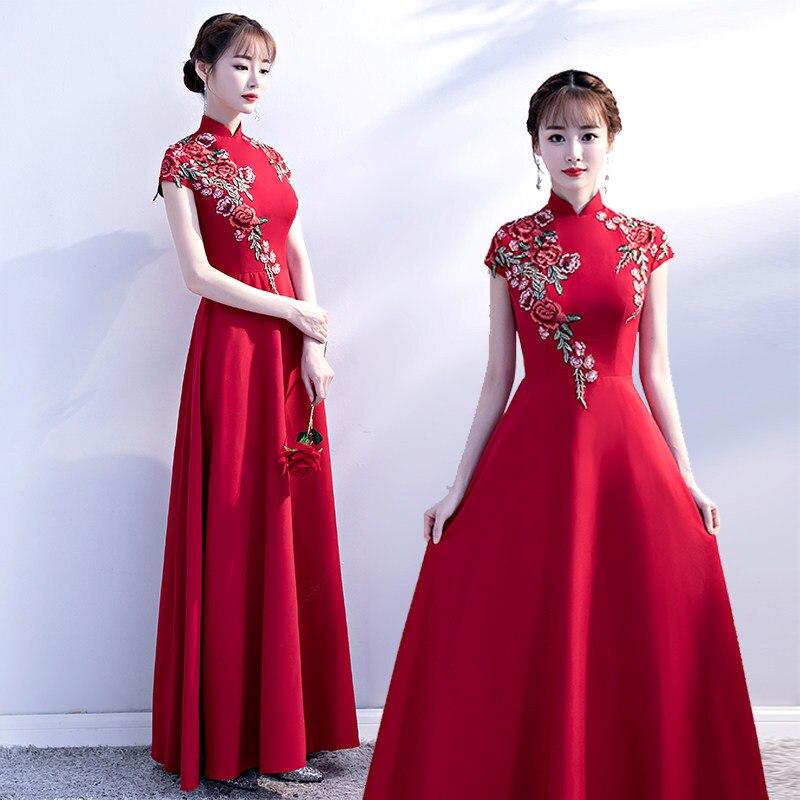 Robe de mariée rouge d'été Qipao longue Cheongsam robe traditionnelle chinoise mince rétro Qi Pao femmes robes antiques orientales