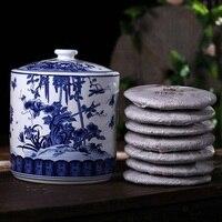 Guci adornos de cerámica de Jingdezhen de porcelana azul y blanca grande té ollas de té Pu'er siete sub-pastel de té caja de almacenamiento de té olla de té torta