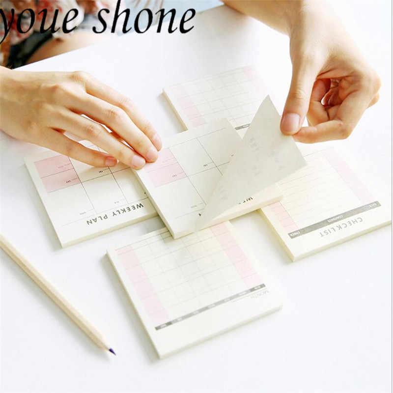 60 ورقة القرطاسية الصغيرة يمكن المسيل للدموع مكتب للقيام قائمة خطة العمل مذكرة مفكرة سطح المكتب ملاحظات لاصقة خطة الأسبوع مخطط دفتر