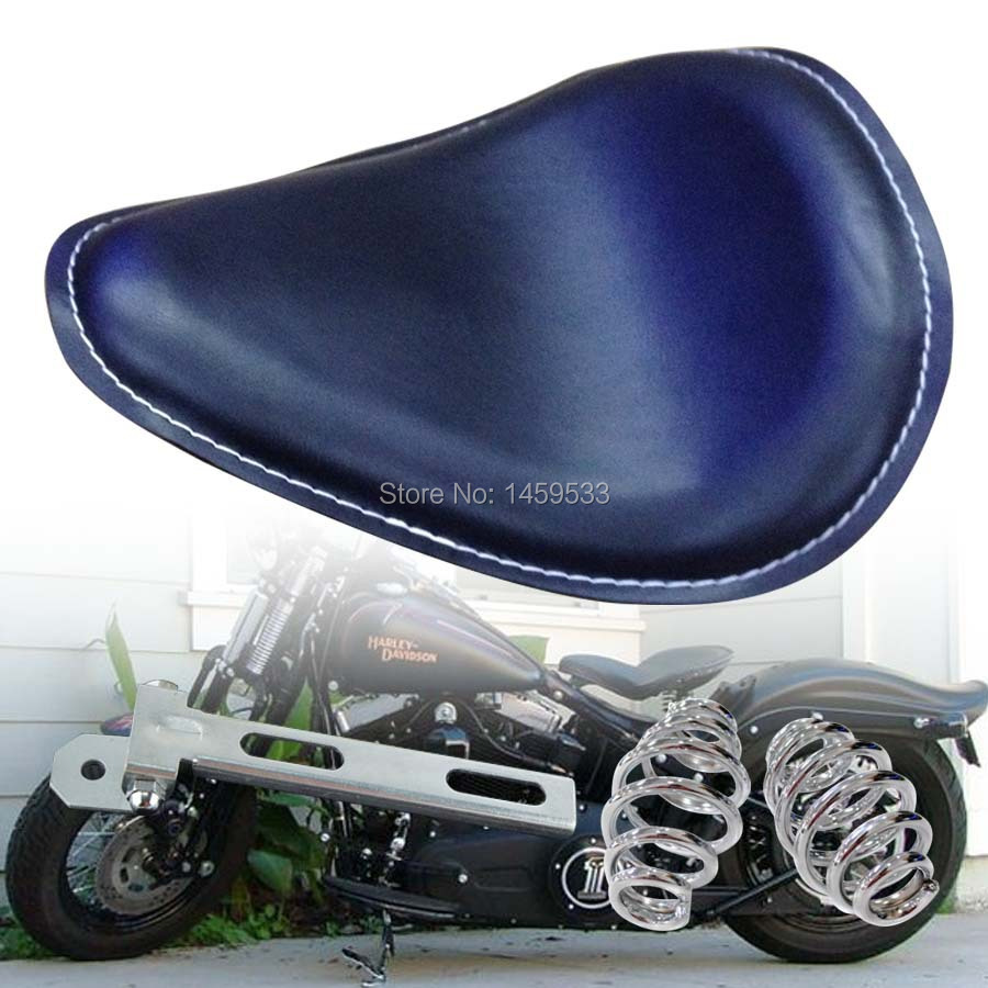 Brand New Black Leather Solo Chrome Springs&Bracket Motorcycle Solo Seat for Harley Sportster Chopper Custom