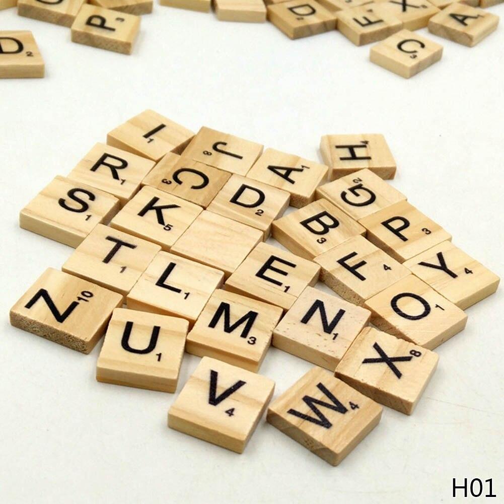 100Pcs/pack Wooden Alphabet Scrabble Tiles Black Letters & Numbers For Crafts Wood