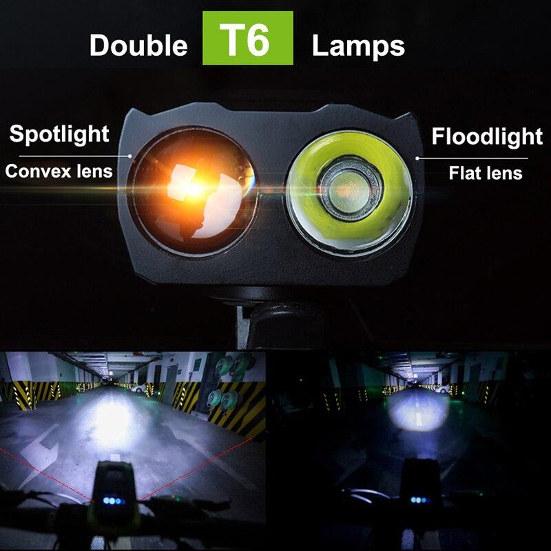 Купить с кэшбэком JOSHOCk 2000mAh 4000mAh Bicycle Light With Horn USB Rechargeable 10000 Lumens LED Light For Bike Cycling Lamp With Taillight