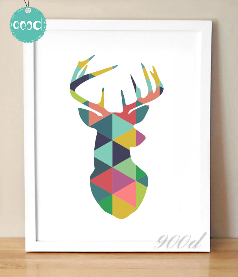 Geometric Animals Canvas Art Print Painting Poster, Giclee Print ...