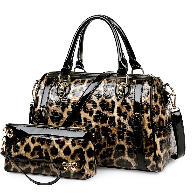 Luxury Leopard Purses and Handbags Women Designer Shoulder Bags High Quality Patent Leather Bag Set Famous Brand sac a main 2018 new 2017 fashion women pu leather shoulder bags ladies patent crossbody bag brand luxury handbags women bags designer sac a main